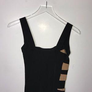 bebe Dresses - Bebe Striped Bandage Sleeveless Dress Black Brown